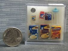 Dollhouse Miniature Baby Food Set of 7 Blue Bottle 1:12  inch scale  G89A