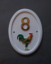 Bird Motif House number sign with beautifully hand-paint COCKERELwt