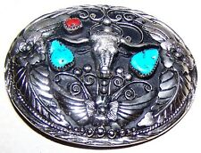 VINTAGE TURQUOISE & CORAL BELT BUCKLE  LONGHORN SILVER HAND CRAFTED  MARK S.S.I.