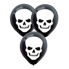HALLOWEEN HORROR SKULL BALLOONS SKELETON HEAD BLACK & WHITE PARTY DECORATIONS 20