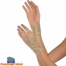 GOLD MASQUERADE LACE GLOVETTES - womens ladies fancy dress costume accessory