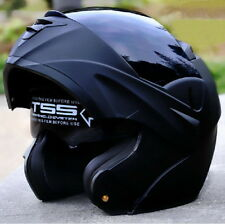 7 Colors DOT Dual Visor Flip Up Motorcycle Helmet Full Face MATTE BLACK IC