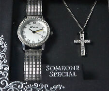 Ravel Ladies Expander Watch & Cross Pendant Necklace Someone Special Xmas Gift