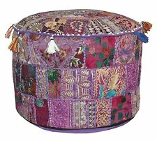 Large Indian Floor Pouf Ottoman Cover, pouffe pouffes, Foot Stool, Bean Bag Pouf