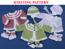 Knitting pattern for 0-3 month baby or doll 19-22 inches cardigan, hat & bootees