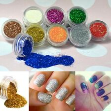 12 Colours Glitter Dust Powder Set - Nail Art Tips Decoration / Crafts / DIY Kit