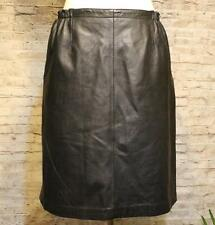 Genuine Leather Skirt Black XL (16/18) Jaclyn Smith Studio A-Line Soft Supple