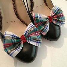 Tartan Shoe Clips 4 Shoes Royal SteWart Dress Bows 1950s Vintage Pinup Retro