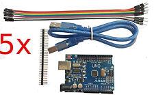 5PCS NEW UNO R3 ATMEGA328P CH340G Board + USB Cables  + wires - ARDUINO CLONE