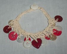 Handmade Crochet Red White Button Beaded Charm Jewelry Bracelet Anklet Ankle