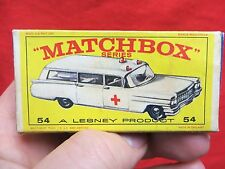 1960's LESNEY MATCHBOX  NO .  54 S & S CADILLAC AMBULANCE  WITH BOX