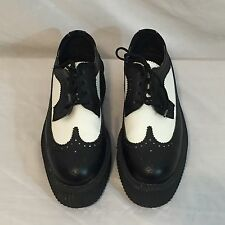TUK Shoes Black & White Leather Platform Creepers Women's Size 8 Men's Size 6