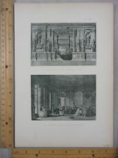 Rare Antique Orig VTG Ruelle, French Salon Louis XVI 2 Image Engraving Art Print