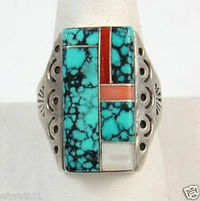 Vtg TOM SAM Navajo Sterling Silver Spider Web Turquoise Coral Inlay Ring Sz 12