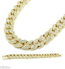 14k Gold Fully Iced Out Hip Hop CZ Chain & Bracelet Mens Miami Cuban Necklace