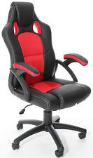 GAMING Style CHAIR Luxury Office High Back Support in Black & Light Red New