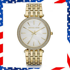New Authentic Michael Kors Womens DARCI Mother-of-Pearl Gold Gemmed Watch MK3219