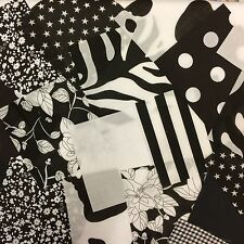 "100 X 4 ""POLY algodón Tela Patchwork Plazas Blanco Y Negro Craft Quilting"