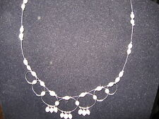 """Pearl and aluminum choker simulated pearls Kathrine K lilac  pink 14"""" necklace"""