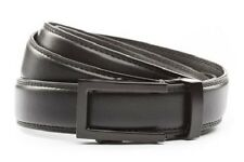 """Anson Belt & Buckle Mens 1.25"""" Traditional black buckle with black leather strap"""