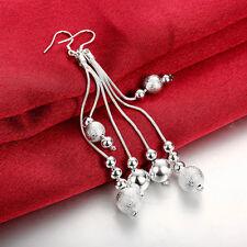 1Pair Lady Long Ear Hook Silver Beads Tassel Eardrop Dangle Earrings Jewelry New