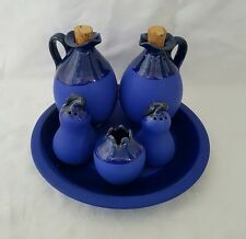 ❀ڿڰۣ❀ STUDIO POTTERY ❀ SALT & PEPPER / OIL & VINEGAR Blue CONDIMENT & CRUET SET❀