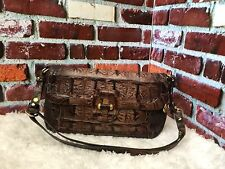 AUTHENTIC BRAHMIN CROC LEATHER FLAP SHOULDER PURSE/HANDBAG