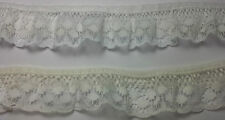 Gathered Frilled Lace Trim 28mm  White or Cream DC17002F
