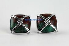 JOHN HARDY STERLING SILVER KNOT CHAIN CUPRITE ON TURQUOISE CUFFLINKS 48C NEW BOX
