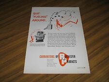 1956 Print Ad Rochester Carburetors for High Compression Engines New York