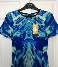 M&S Marks And Spencer Women PerUna Speziale Blue Print Stretch Dress BNWT Sz 8