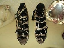 ZARA SNAKE LEATHER LACE UP ANKLE SHOES BOOTS STILETTO*EU38*UK5*U7,5**BAG*NEW
