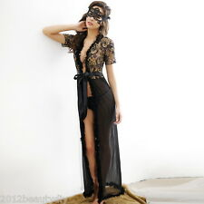 1PC Black Chiffon Sexy Lingerie Long Section Flash Gold Embroidery One Size