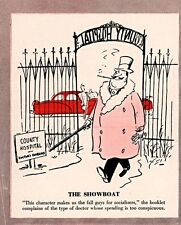 """1954 CARTOON POKING FUN AT DOCTORS MEDICAL """"THE SHOWBOAT"""" CONSPICUOUS SPENDING"""