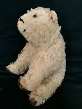VINTAGE STUFFED POLAR BEAR TEDDY LEATHER PAWS NEEDS TLC