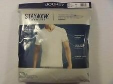 NIP Men's Jockey Big Man 100% Cotton 2-pk. V-Neck T-Shirts Undershirts White 5XL
