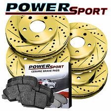 Full Kit Gold Cross-Drilled Slotted Brake Rotors Disc and Ceramic Pads Civic,RSX