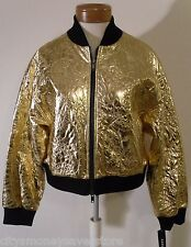 NWT DKNY Womens Gold Embroidered Paisley Bomber Jacket L MSRP$495