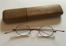 Stunning Antique Oval Wire Framed Glasses Spectacles In Wooden Case