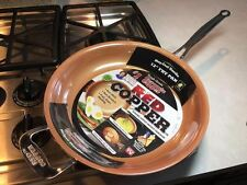 "NEW Red Copper 12"" Inch Frying Pan Skillet Fry AS SEEN ON TV Free Shipping"