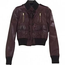 "Authentic GUCCI ""Madonna"" Burgundy Leather Biker Bomber Jacket IT40 / UK8 / US4"