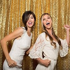 7ft*7ft Gold Shimmer Sequin Fabric Photography Backdrop for Wedding/ Party/Event