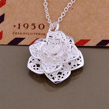Feminin chic lang Halskette Rose Blumen Modell Anhänger aus Silber Platierung