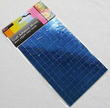 NEW 150 SELF ADHESIVE GLASS MIRROR SQUARES TILES MOSAIC CRAFT 1CM SIL BLUE