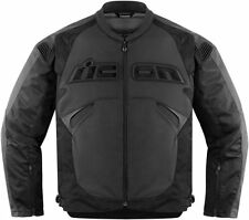ICON SANCTUARY JACKET MOTORCYCLE LEATHER STREET SPORT BIKE MENS STEALTH LARGE