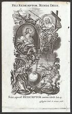 Maria lactans Preziosissimo Sangue incisione XVIII Klauber old holy card roccoco