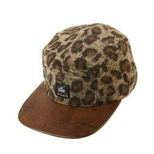 Wool Leopard Print 5 Panel Faux Leather Snapback Cadet Cap Hat Adjustable Brown