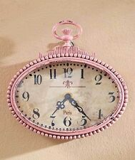 Pink Small Metal Wall Clock Vintage Style Distressed Finish Home Decor