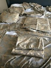 4 X Light Brown & Gold Curtains Plus Two Pelmets And 4 Tie Backs Plus Extras