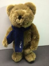 "Ralph Lauren Polo TEDDY BEAR 10"" Plush Toy w/ Blue Knit Scarf 2001 EXC COND"